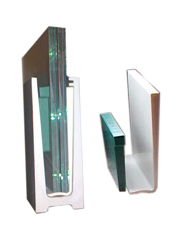 Modernistyczne Profil do balustrady/ zabudowy szklanej, dolny, aluminiowy, szkło LE99